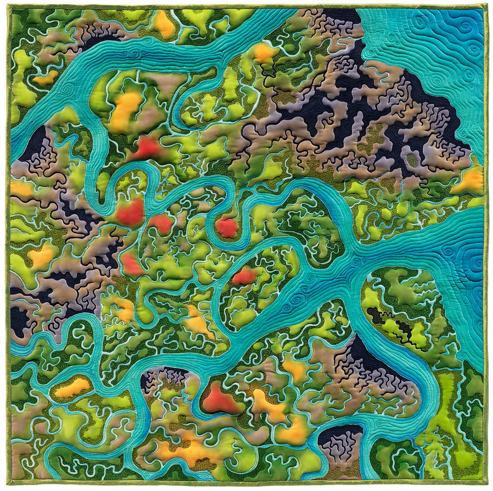 """""""Wetlands Dream Revisited""""<br>stitched painting on silk<br>30""""x30"""""""
