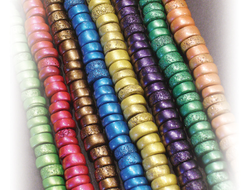 Clay beads colored with Pearl Ex by Carolyn Hasenfratz