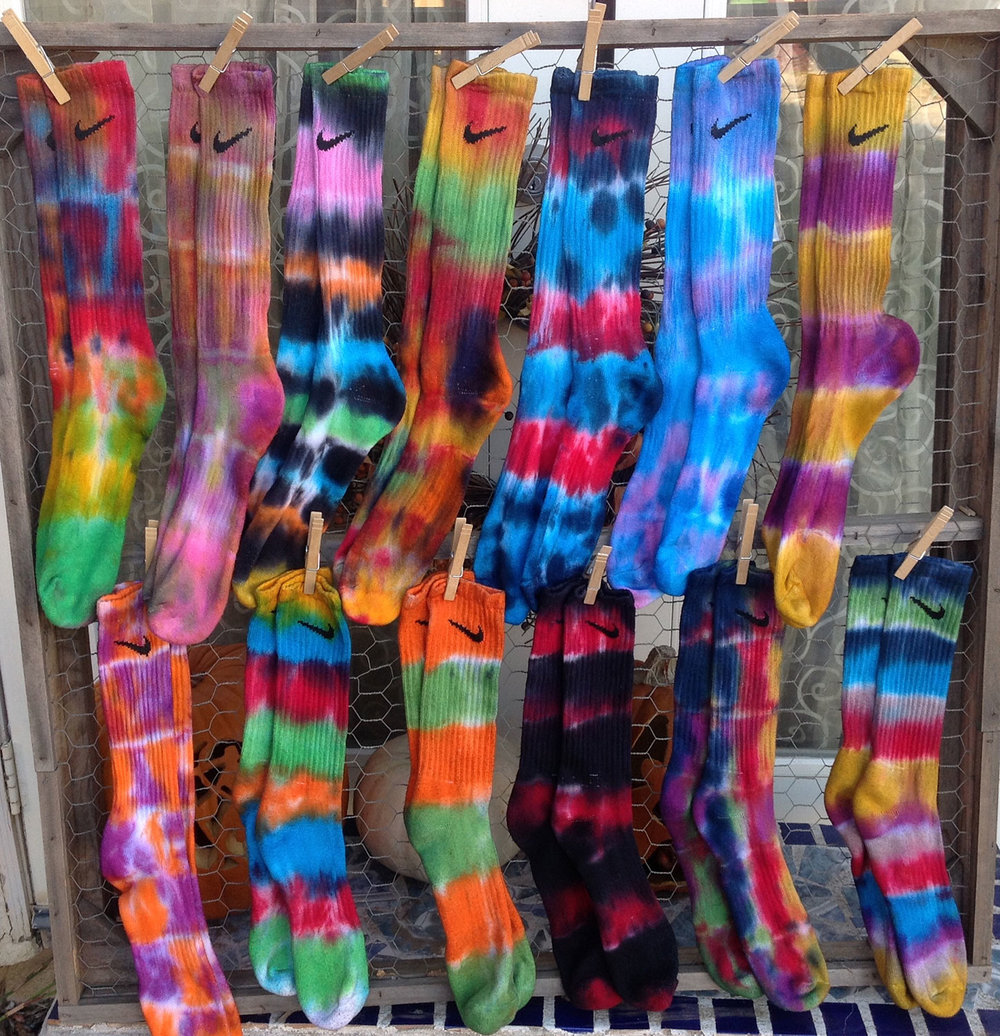 Socks dyed with Procion MX