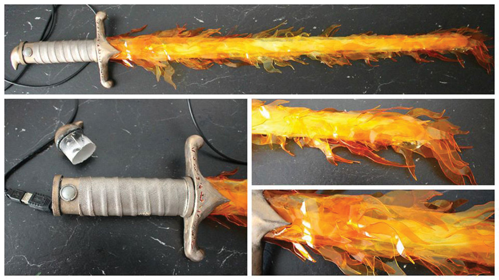 Flaming cosplay sword dyed with iDye Poly by Miez Cosplay