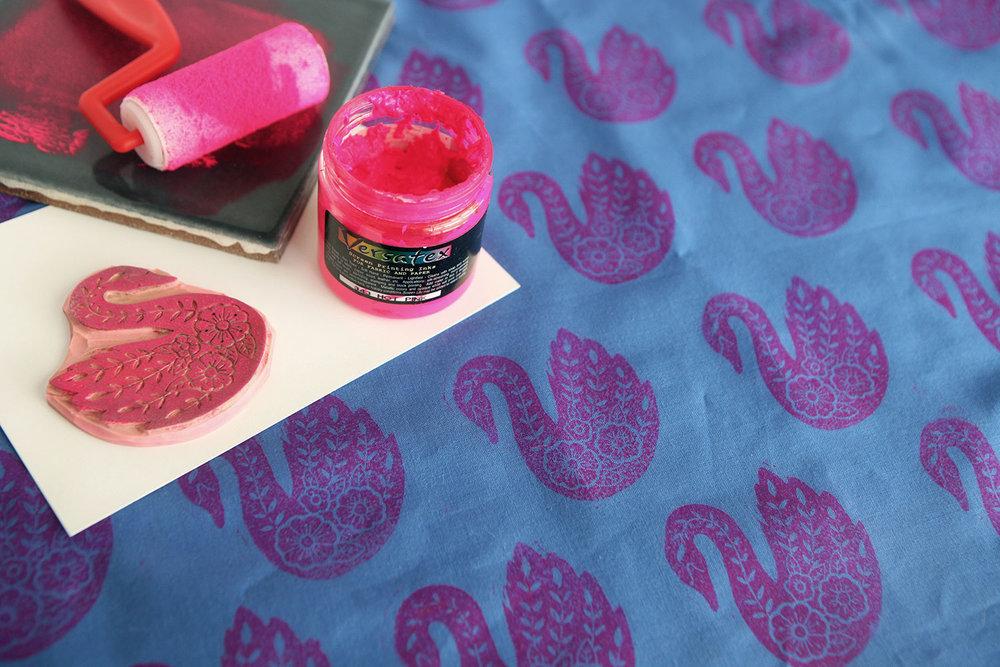 Stamped fabric by Jennifer Zee