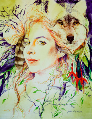 """Hannah & Wolf"" by Julie Cox-Hamm @juliartsilks"