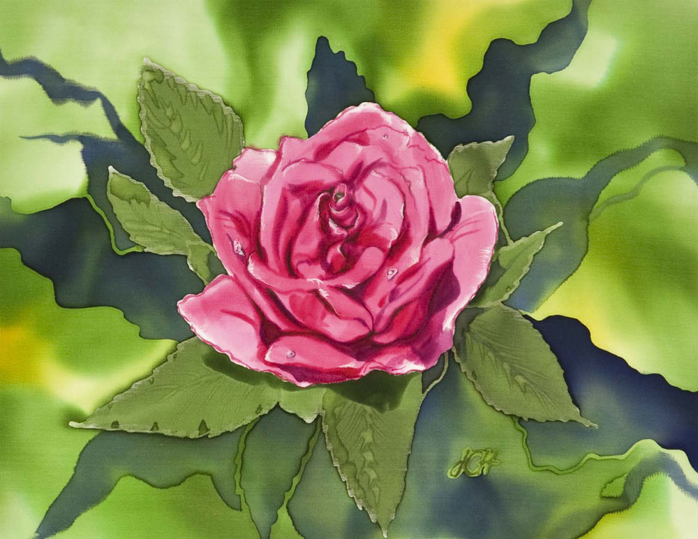 """Rose"" by Julie Cox-Hamm @juliartsilks"