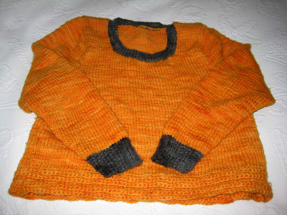 Dyed knit sweater by Barbara Foley