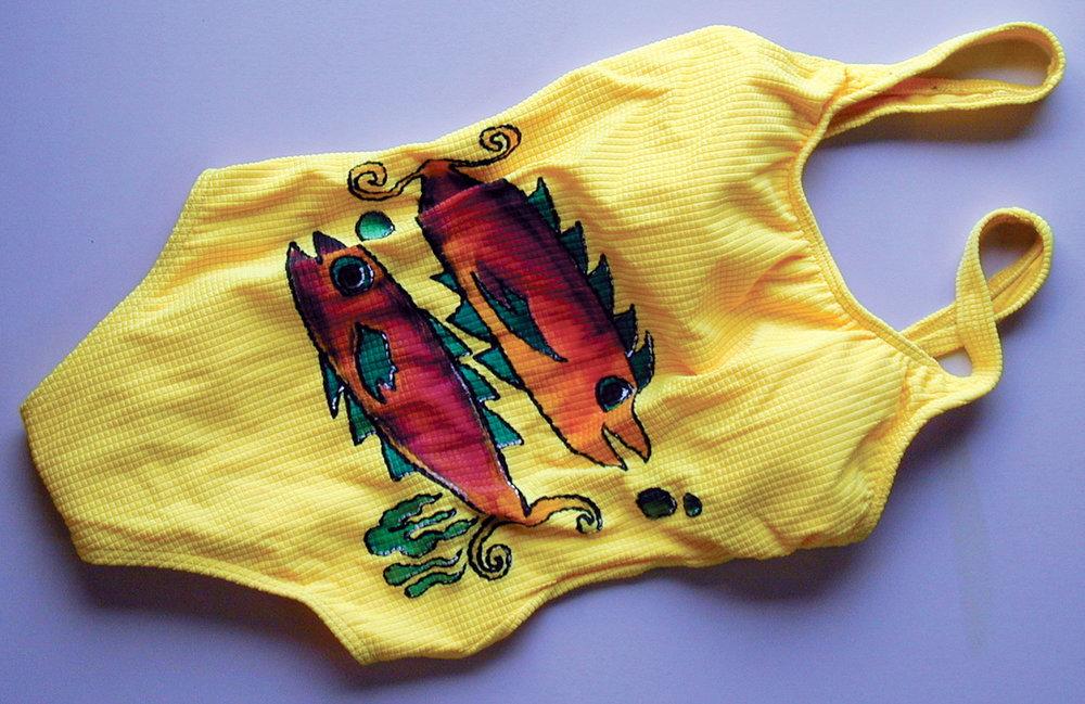 Painted swimsuit by Celia Buchanan