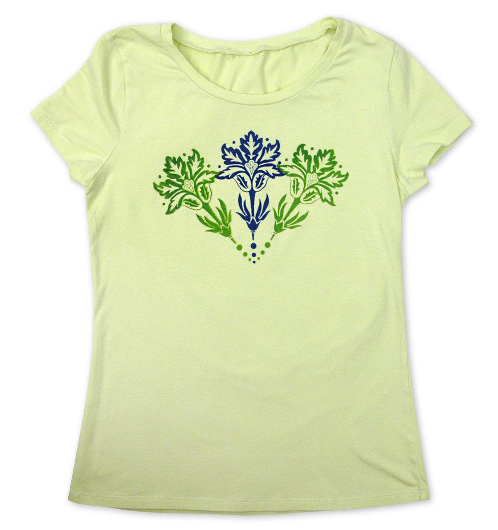 Semi-opaque colors on light t-shirt