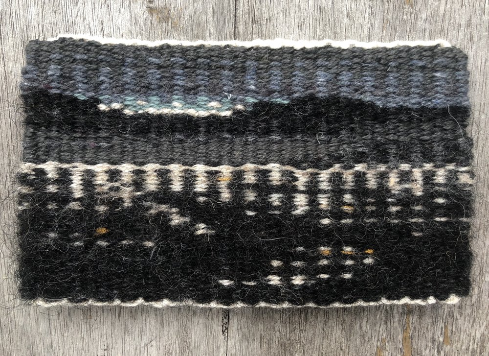 "City of Angels, 2018. Linen, wool, and cotton. 3 1/2"" x 6""."