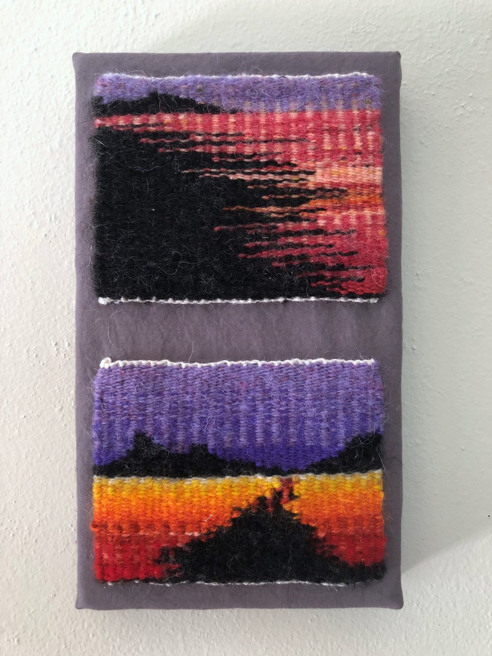 "Desert Hearts I & II, 2018. Linen, wool, and cotton. 7"" x 15"". Featured in  Warp and Weft: An Exhibit of Tapestry  at Webster Arts in 2018."