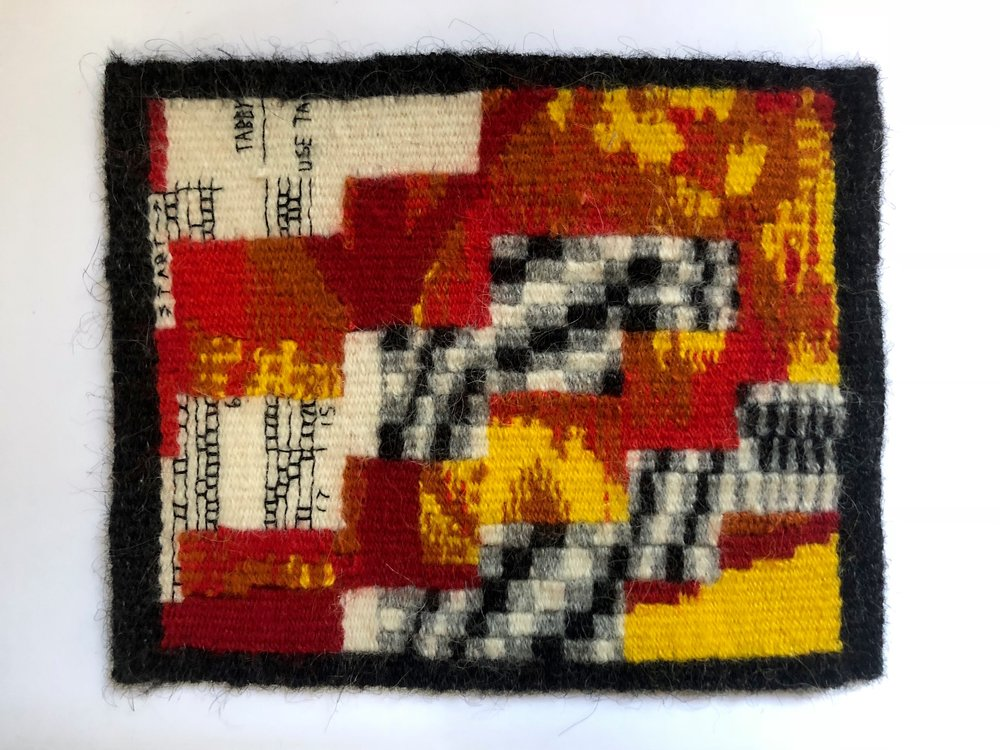 "Blooming Leaf, 2018. Linen, wool, and cotton. 6"" x 7 1/4"". Featured in  Small Tapestry International 6: Beyond the Edge ."