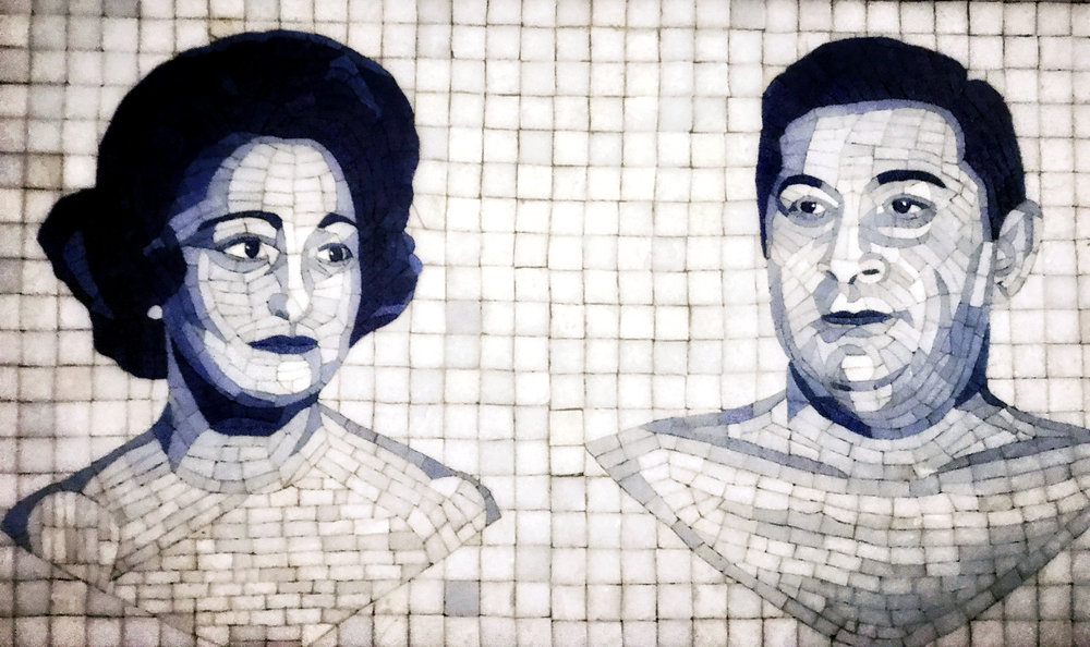 A mosaic by Sol Reese of him and his wife, Eve — my dad's parents