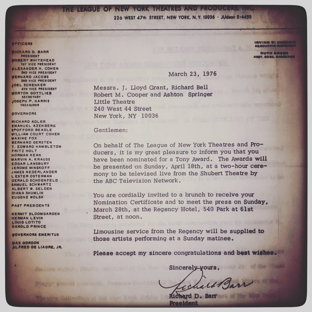 His 1976 Tony Award nomination letter