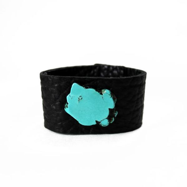 Turquoise Slab Leather Cuff