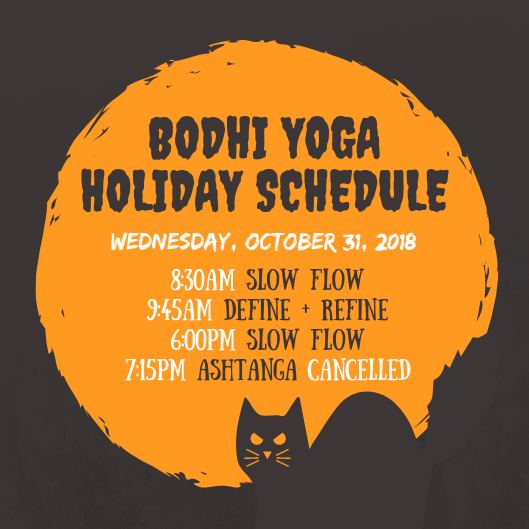 halloween schedule bodhi yoga