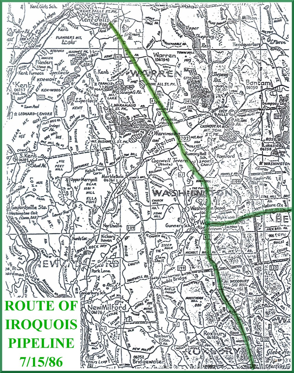 Route of the Iroquois Pipeline proposed in 1986. With WEC's help, this project was rerouted.