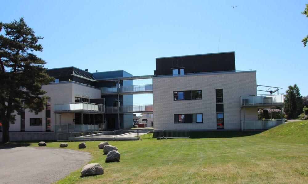 Rommet mellom de to bygningskroppene gir solrike, lune arealer for opphold og lek. Bebyggelsen tar også hensyn til områdets fantastiske trær.