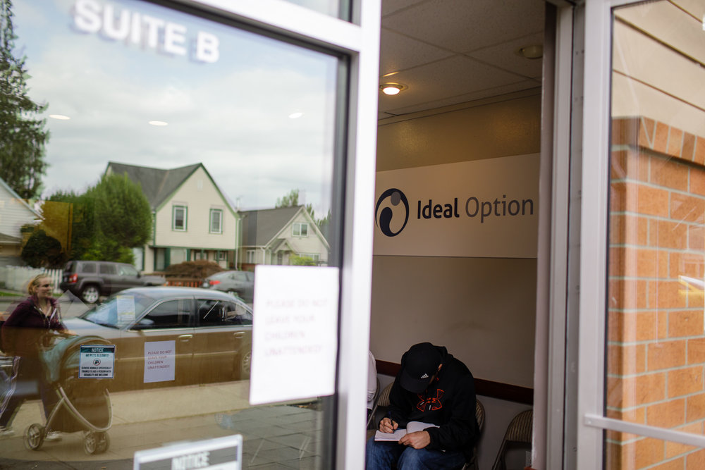A patient waits inside Ideal Option clinic in Everett, Washington.     CREDIT:  LEAH NASH FOR FINDING FIXES »