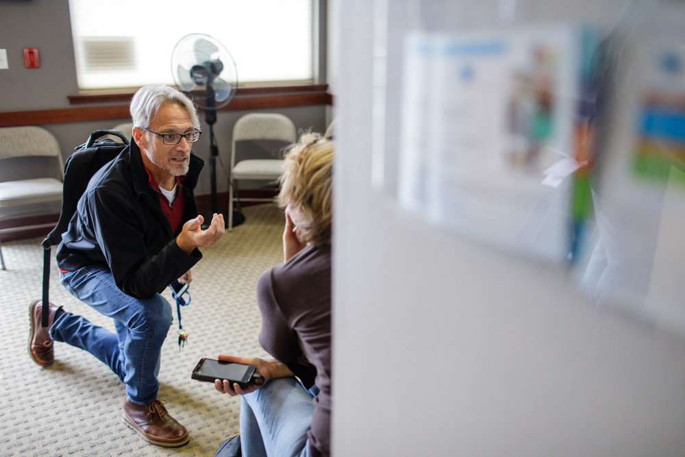 Geoff Godfrey is a nurse practitioner at Ideal Option clinic in Everett, Washington. Naturally theatrical, he engages his patients with funny voices and imitations.     CREDIT:  LEAH NASH FOR FINDING FIXES »