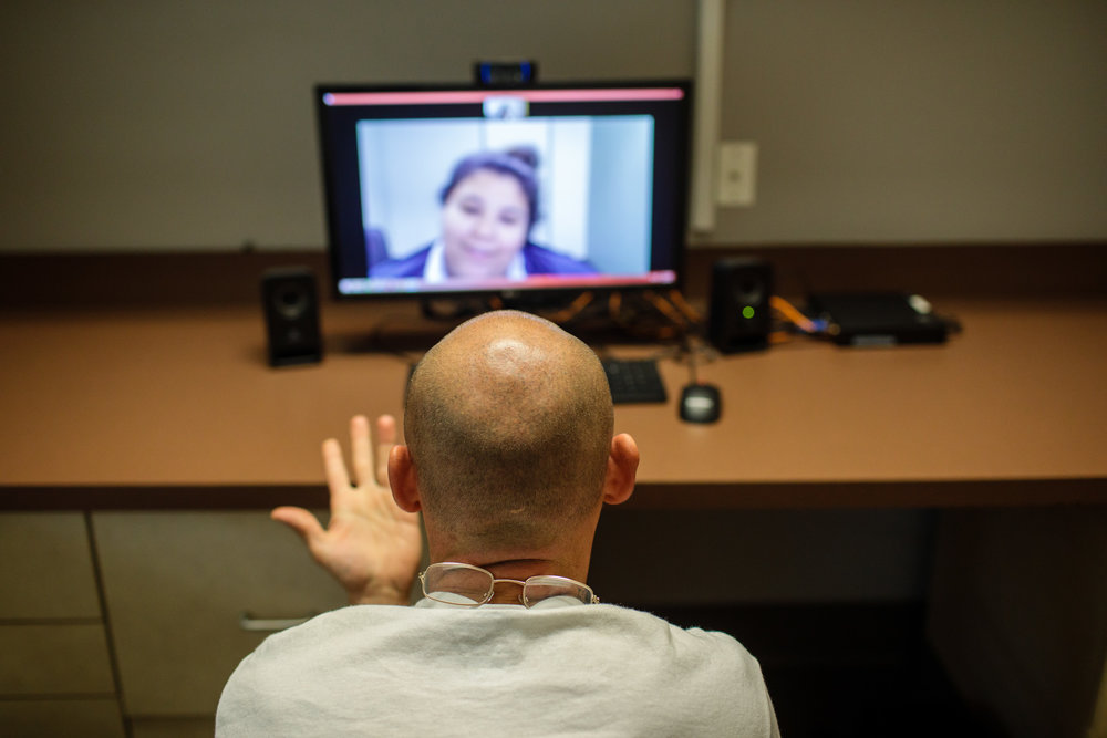 During an appointment, a patient talks to a medical provider through a screen at Ideal Option clinic in Everett, Wash.    CREDIT:  LEAH NASH FOR FINDING FIXES »