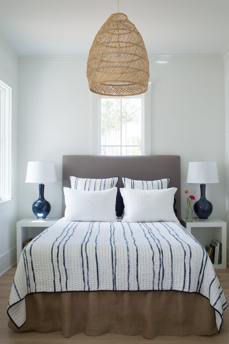 Blue cottage style bedroom with rattan pendant. Coastal Cottage Interior Design Inspiration - Part 1 {Get the Look!} #bedroomdecor #bluebedroom #cottagestyle #coastaldecor