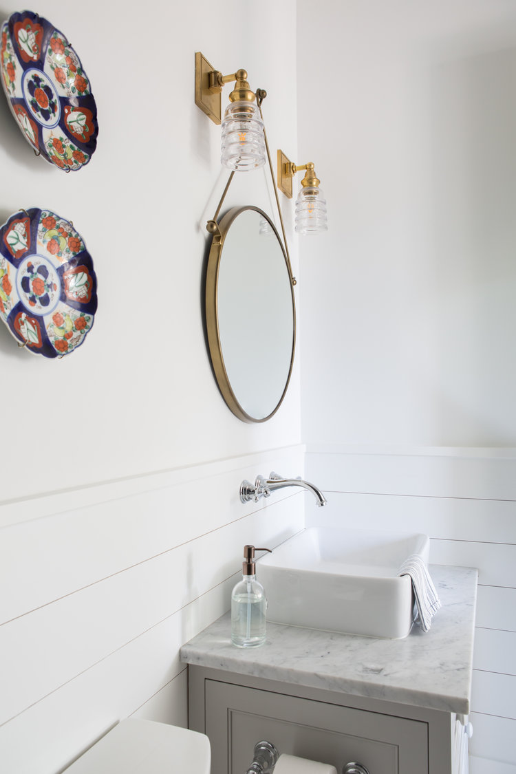 Cottage style bathroom with blue accents and shiplap. Coastal Cottage Interior Design Inspiration - Part 1 {Get the Look!} #bathroomdesign #cottagestyle #shiplap #coastaldecor