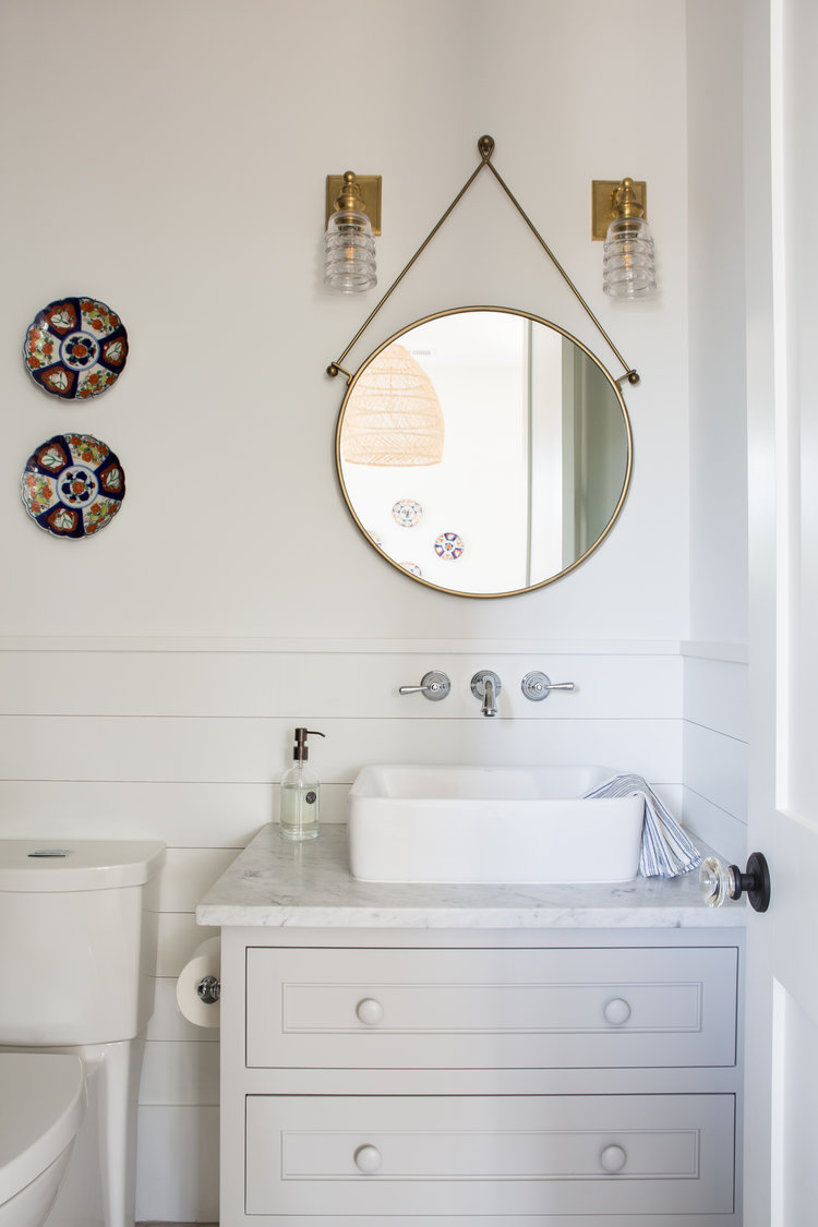 Cottage style bathroom with vessel sink. Coastal Cottage Interior Design Inspiration - Part 1 {Get the Look!} #bathroomdesign #coastaldecor #cottagestyle #shiplap