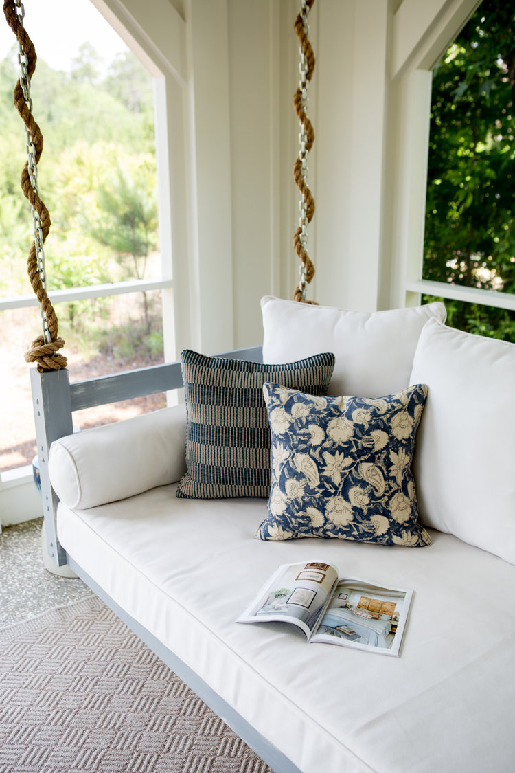 Swing on screen porch. Coastal Cottage Interior Design Inspiration - Part 1 {Get the Look!}