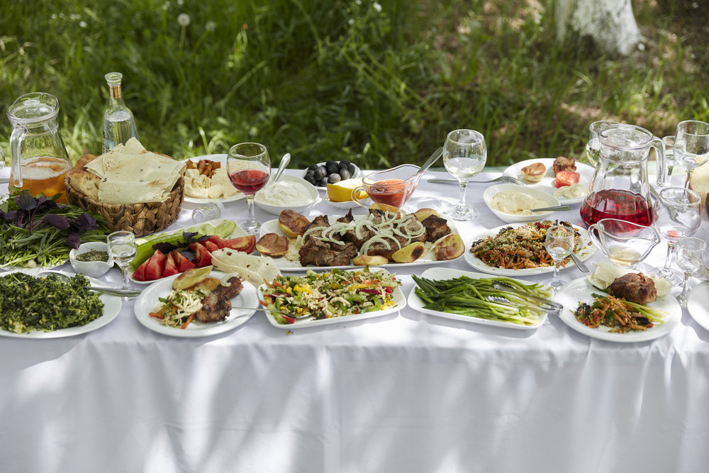 A khorovats table spread at the restaurant Armen's in the northern Armenian town of Haghpat.