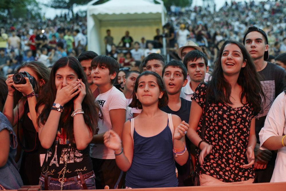 Rock concert in Tumanyan Park in front of Tumo Yerevan.
