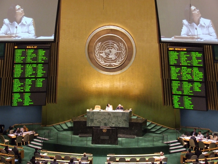 The UN votes to adopt the  Declaration on the Rights of Indigenous Peoples , Sep. 13, 2007. Photo: Stefan Disko.