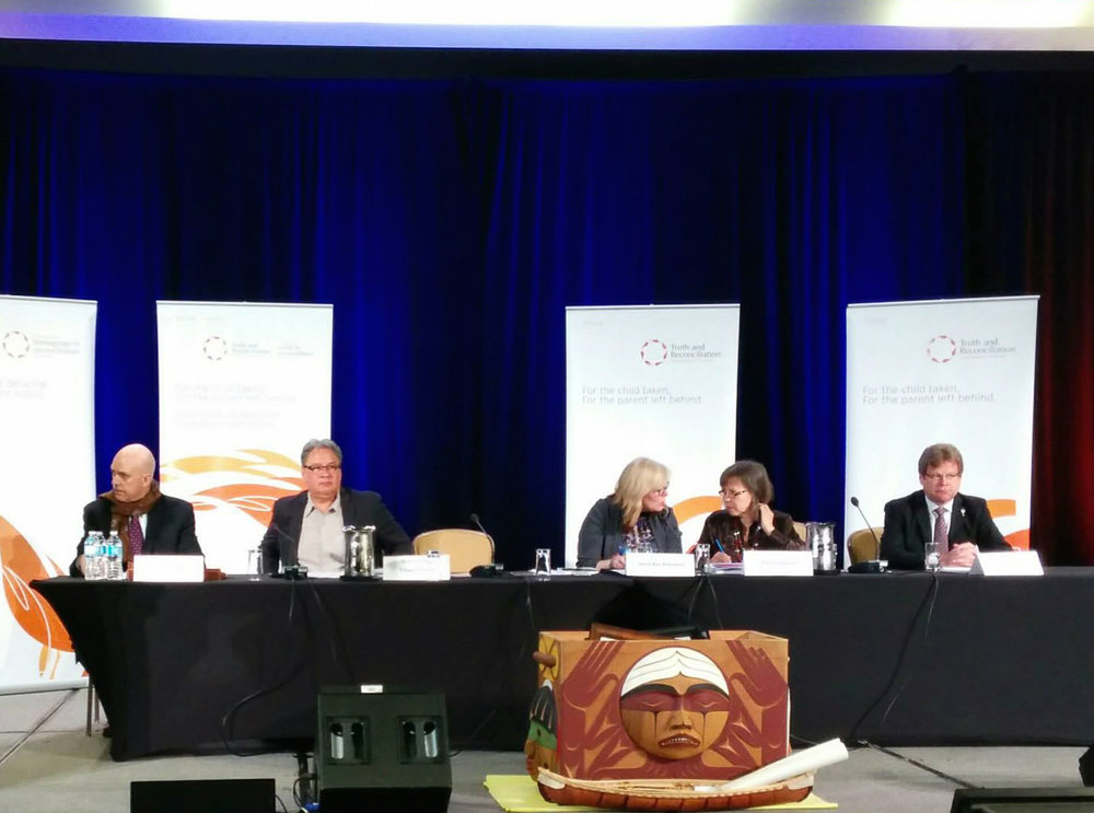 "Coalition members speaking on a panel on ""The UN Declaration on the Rights of Indigenous Peoples: Justice, Reconciliation and Hope,"" at the Truth and Reconciliation Commission closing events in 2015."