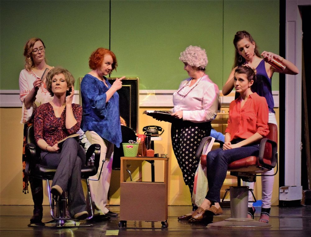 Cast of Steel Magnolias (Francesca as Shelby in pink button-down in right chair)