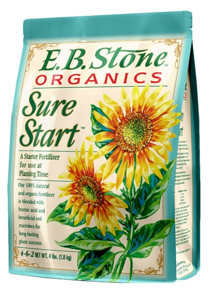 E.B. Stone Sure Start -  E.B. Stone Sure Start is a blend of natural organic ingredients formulated to help newly transplanted plants develop strong roots and sturdy growth. Sure Start is rich in natural sources of phosphorus to help your plants develop a strong foundation for future growth. The gentle and non-burning formula is safe to use with even the most tender transplants. Contains: Blood Meal, Feather Meal, Bone Meal, Dried Chicken Manure, Bat Guano, Alfalfa Meal, Kelp Meal, Potassium Sulfate, Humic Acids and Soil Microbes including Mycorrhizal Fungi.