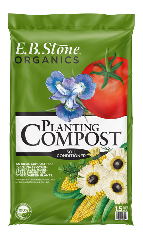 E.B. Stone Compost - Compost adds organic matter to your soil, which greatly improves the ability of soil to retain water and nutrients, and helps soil particles bind together to form structure, in which water, air and roots can move freely. It also feeds beneficial soil microbes and fungi which in turn break down and transport nutrients to the roots.E.B. Stone's special blend of ingredients are combined to make this an all-purpose outdoor planting mix. This Planting Compost is blended for use in all soil types and for all types of outdoor gardening.Contains: Composted Wood Shavings, Redwood Compost, Composted Chicken Manure, Mushroom Compost, Fir Bark, Bat Guano, Kelp Meal and Alfalfa Meal. For Best results, never plant anything without E.B. Stone Sure Start.