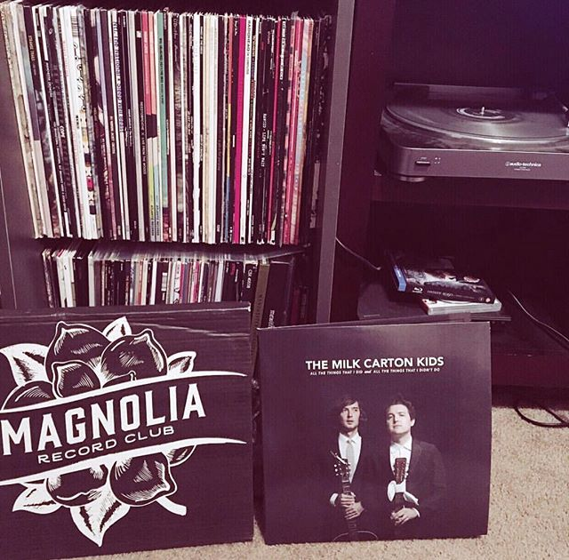 """""""My favorite thing that I get shipped every month is a vinyl from @magnoliarecordclub and usually a brand new artist to check out for the first time. This month it's The Milk Carton Kids (@themilkcartonkids ) and on first listen this seems like an album I will really enjoy spinning while I relax with a book or just listening on the couch. Thanks @drewholcombmusic for a solid pick and record club!"""" - @jasontaylor146"""