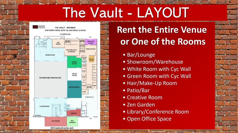 San Diego Creative Events Presentation 6 veloce motors the vault layout and rooms.JPG