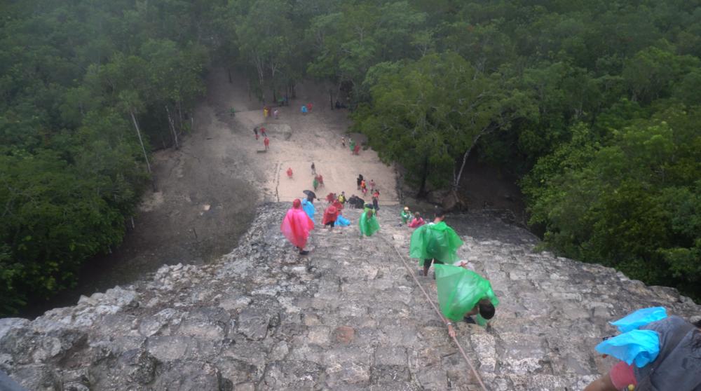 Climbing the Coba Pyramid