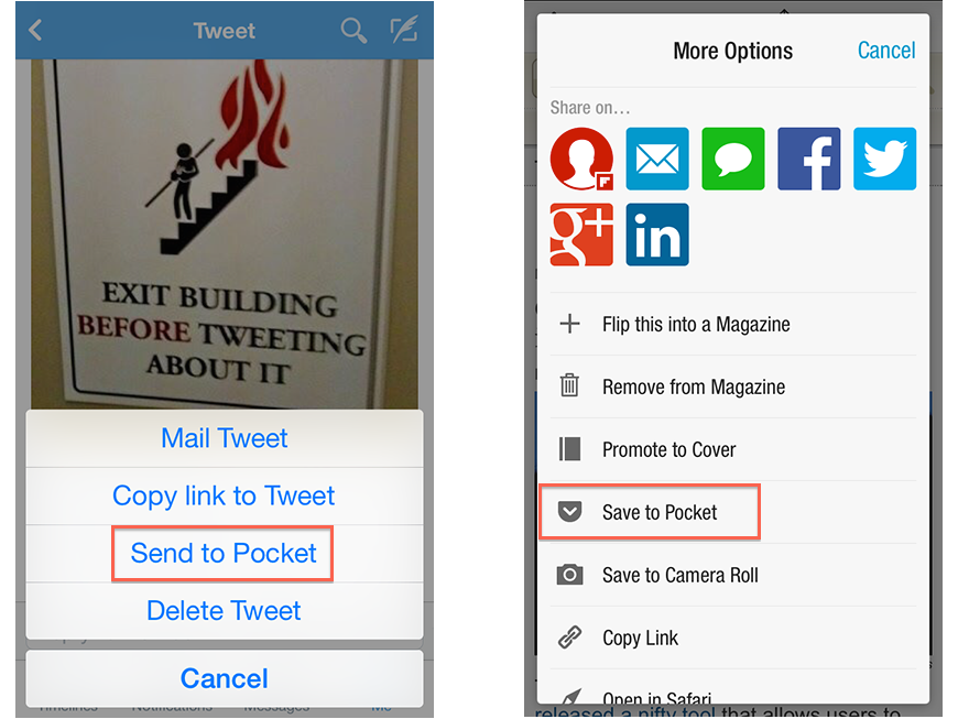 Pocket App integrated in Twitter and Flipboad Apps