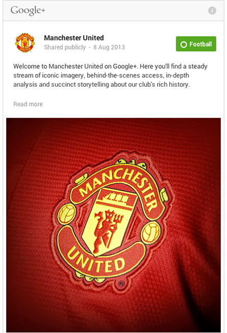 Manchester United's First Post on GooglePlus