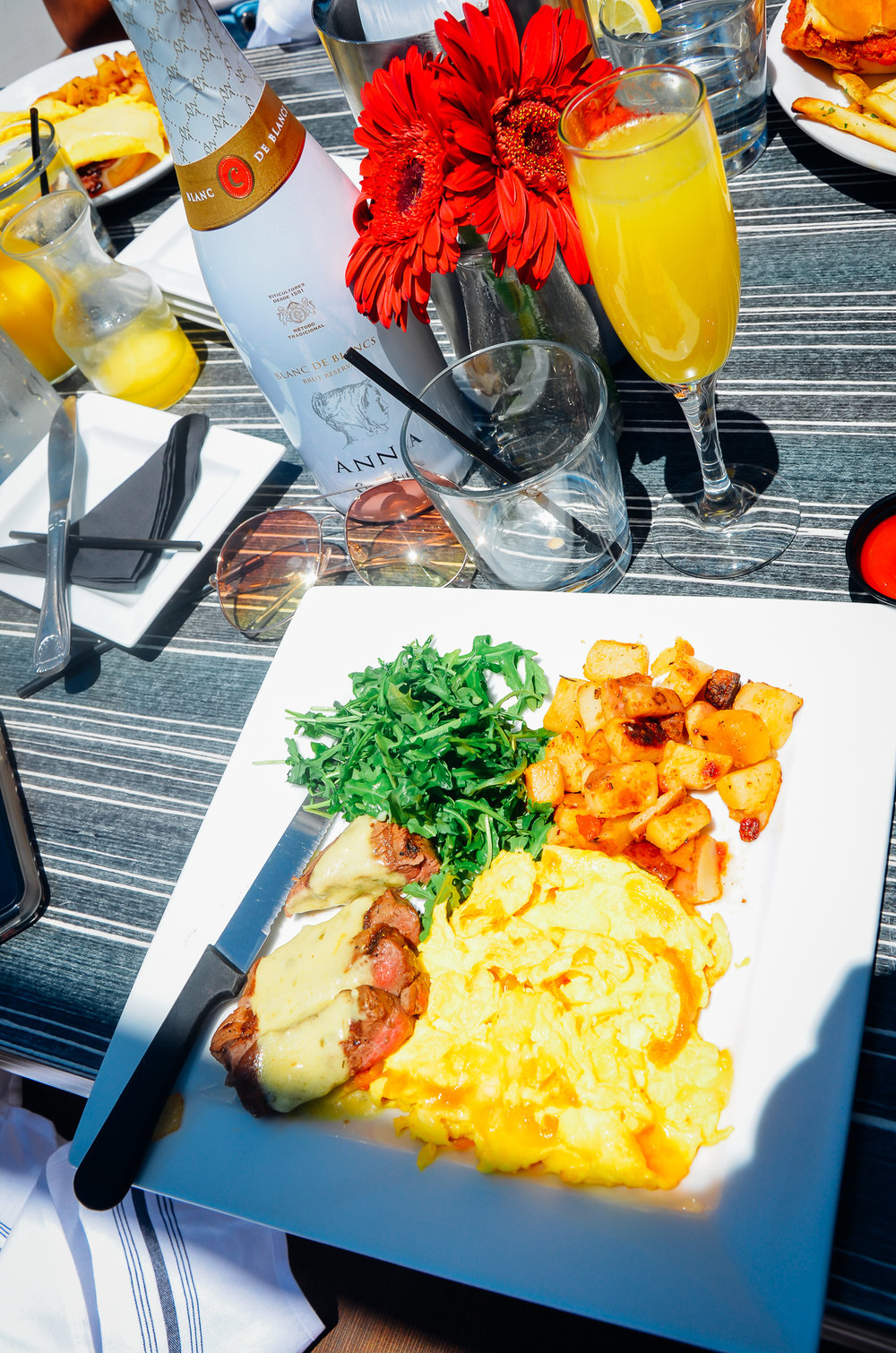 Steak, Eggs, and House Potatoes.