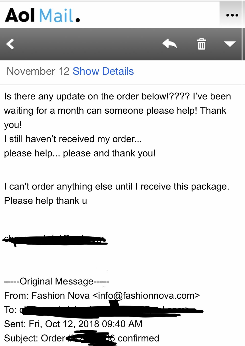 Currently, November 12th with no response or package.