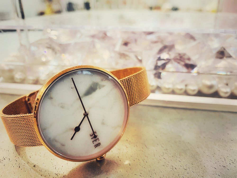 Two bands one watch.  White band is casual and chic for everyday.  Rose Gold band made for your special evenings & dressy occasions.