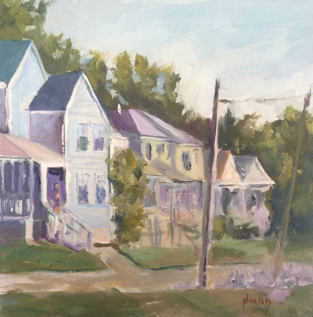 A PAINTING OF THE ALEXANDER HOUSE WITH YOUNG MAN ON PORCH BY ARTIST GARY BRADLEY