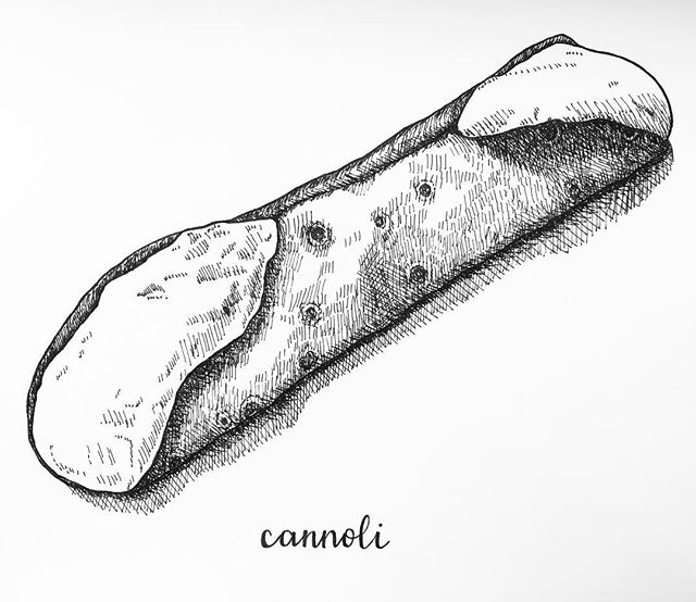 Next up in my #PhillyPhood series: cannoli! This is a cannoli from Termini Bros in South Philly. I strongly recommend going there if you've never been— walking inside is like walking in to heaven. It smells amazing, everyone is friendly, and it's filled with absolutely delicious cannolis and cakes. One more reason I love this city. 😁  #cannoli #philly #phillyartist #terminibros #etsyseller #etsysellersofinstagram #penandink #illustration #pigmamicron #phillyfood #foodie #dessert
