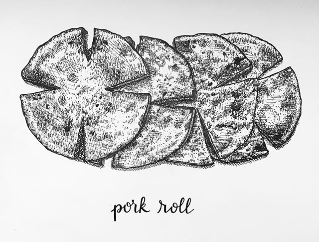 Lazy Sunday, drawin some pork roll. This one is #PhillyPhoods number 6. In related news, now I'm hungry. 😁🤤 #phillyfood #porkroll #phillyartist #localartist #philly #taylorham #southphilly #etsyseller #pigmamicron #penandink #illustration #foodie