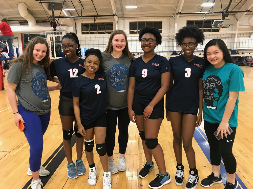 2018 Adam's Park DIG it! Volleyball Team with DIG it! volunteers from High Performance STL's Select 15 Orange Volleyball Team.