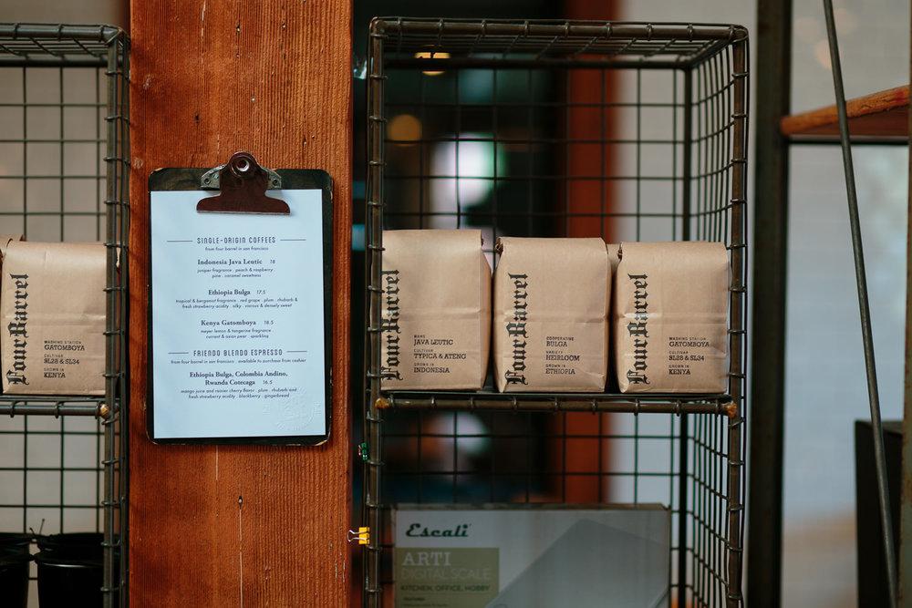 coffee shop offering single origin four barrel roasters