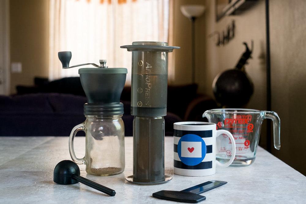 Minimal Aeropress coffee recipe at home