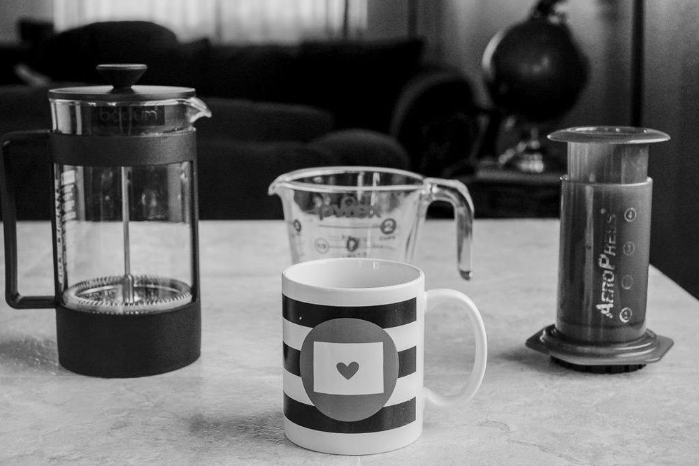 Minimal coffee recipe home setup