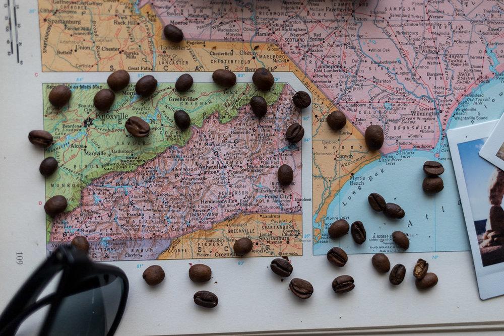 Asheville North Carolina Pisgah area map coffee workshop