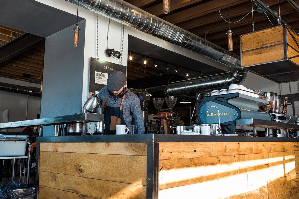 Industrial specialty coffee shop in Denver Colorado